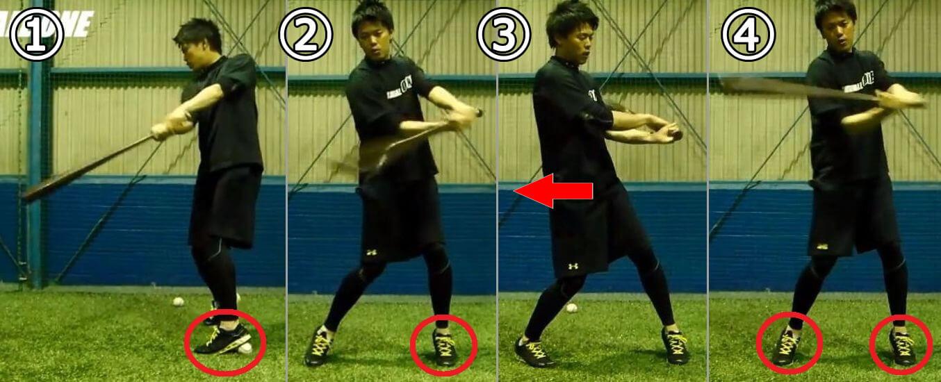 ボールを使って体の開きを矯正